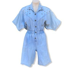 Vintage 1980 Denim Romper Studded Acid Wash Medium